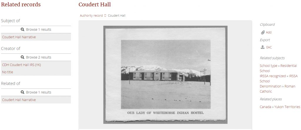 Coudert Hall, related materials, landing page (detail).
