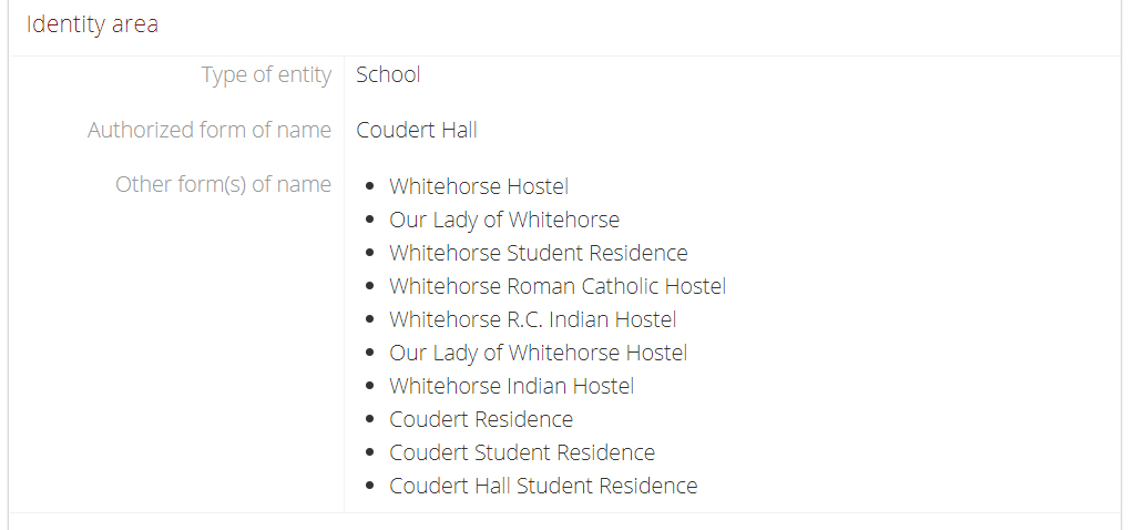 Coudert Hall, identity area, landing page (detail).