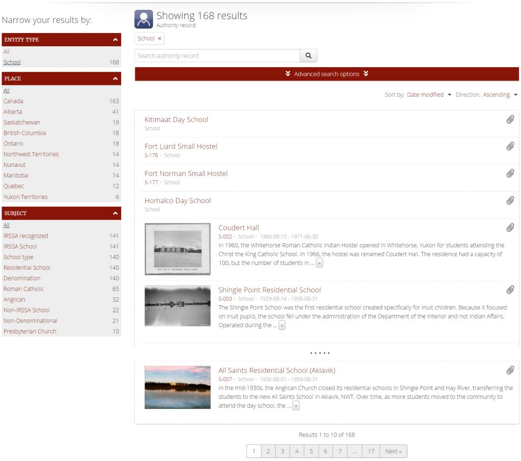 NCTR Schools landing page (detail).